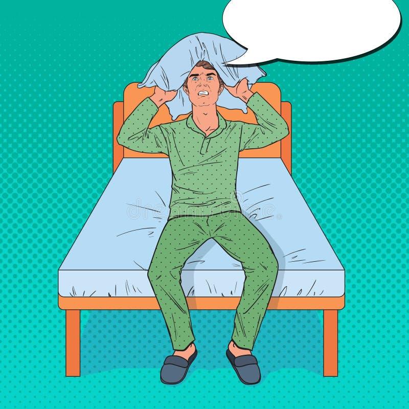 Pop Art Angry Man Closing Ears met Hoofdkussen Zware Ochtendsituatie Guy Suffering van Slapeloosheid royalty-vrije illustratie