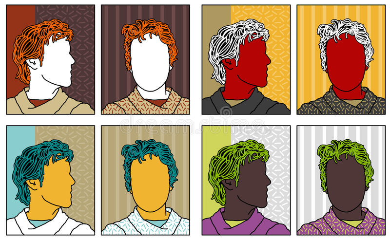 Download Pop-art Anonymous Portraits Stock Vector - Illustration of pattern, sketchy: 13278636