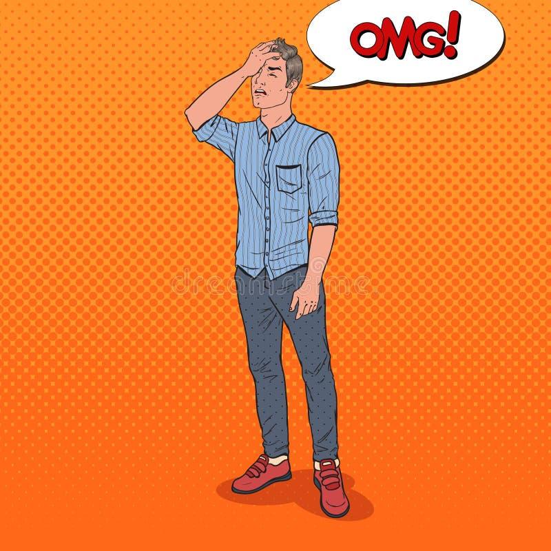 Pop Art Ashamed Man Covering hans framsida med handen Negativt sinnesrörelseansiktsuttryck vektor illustrationer