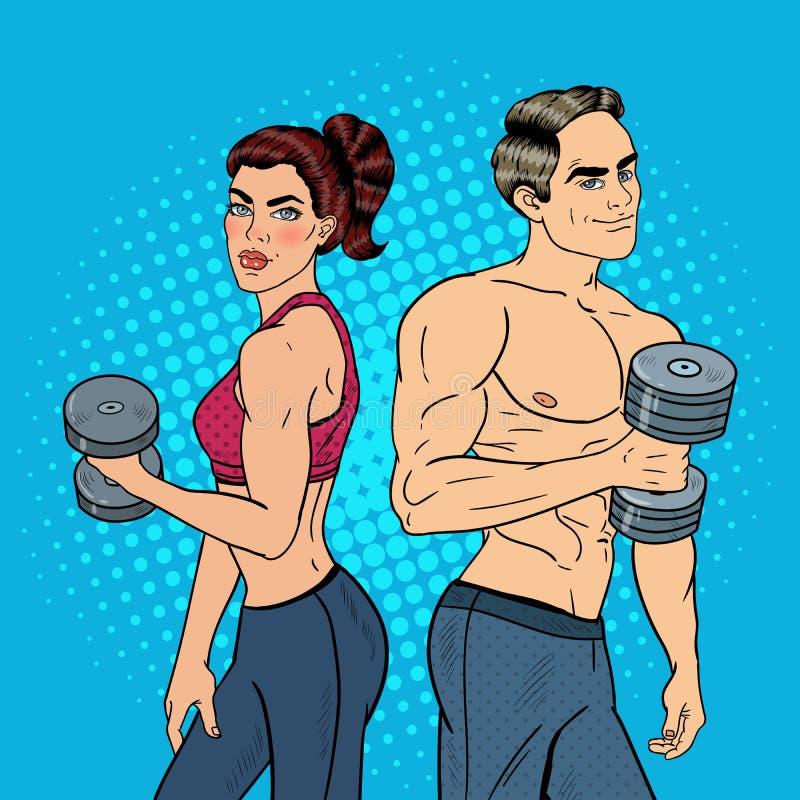 Pop Art Athletic Man och kvinna som övar med hantlar vektor illustrationer