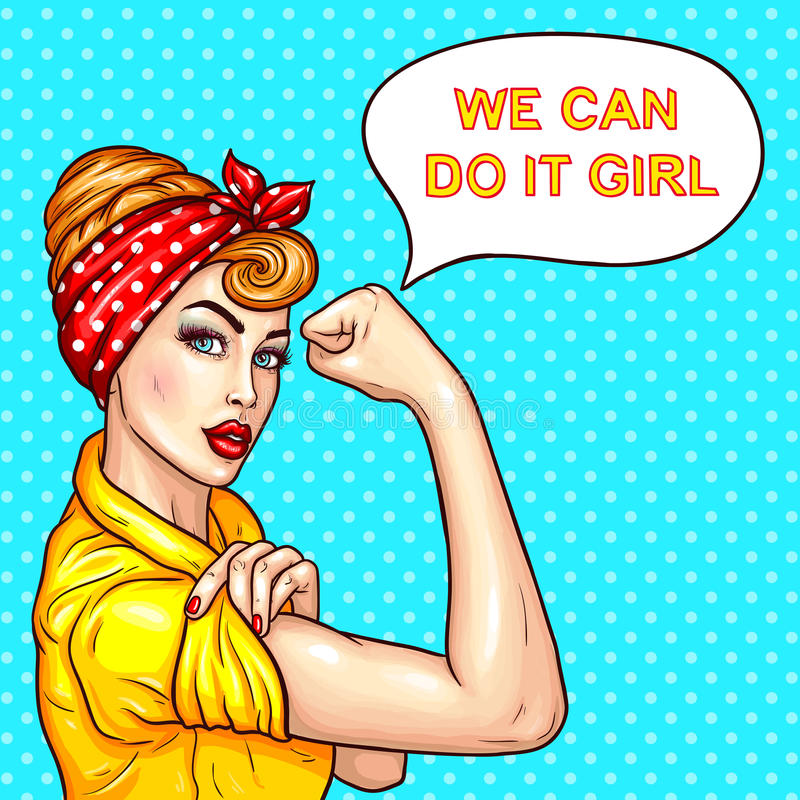 Pop art attractive confident woman housewife demonstrating her strength stock illustration