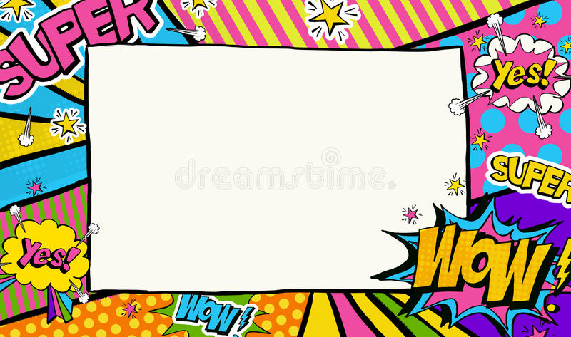 Pop Art background.Advertising poster.Pop Art frame for place for text. stock illustration
