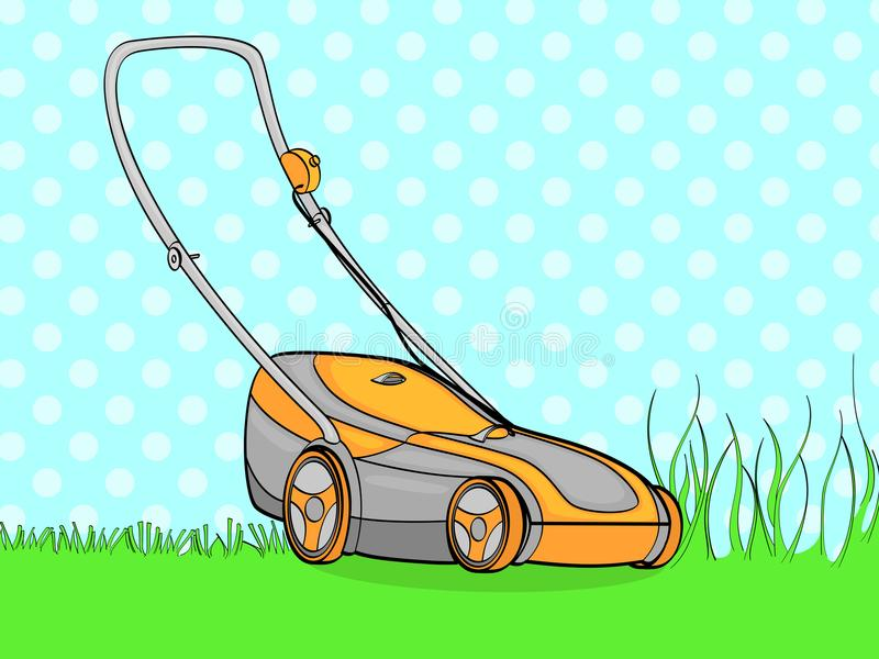 Pop art background, blue. Electro machine, lawn mower. We remove the grass. vector. Illustration stock illustration