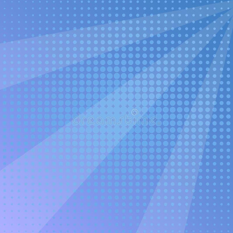 Pop art background, blue sun rays. Vector royalty free illustration