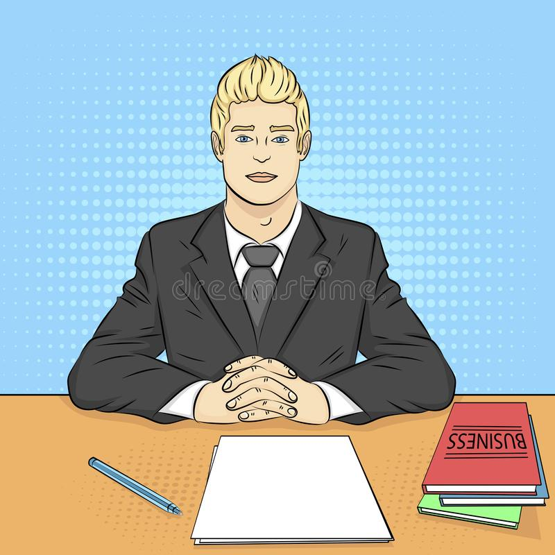 Pop art background. Businessman, boss at the table, reception staff, job interview. Vector. Illustration royalty free illustration