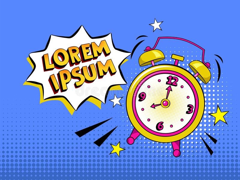 Pop art background with comic alarm clock ringing with speech bubble with your own text. Vector bright cartoon illustration in ret royalty free stock photo
