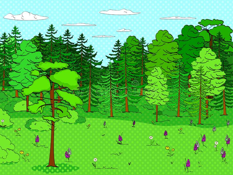 Pop art background, forest, glade, lots of trees, set. A lot of green, nature. Raster vector illustration