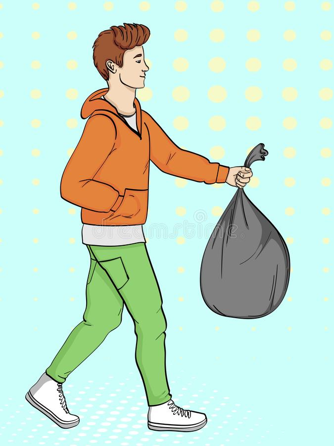 Pop art background, imitation of comics. The guy is carrying a bag of trash. Vector. Illustration vector illustration