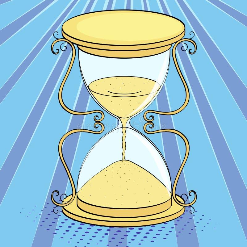 Pop art background, imitation of comics. Hourglass, time. Vector. Pop art background, imitation of comics. Hourglass, time Vector illustration stock illustration