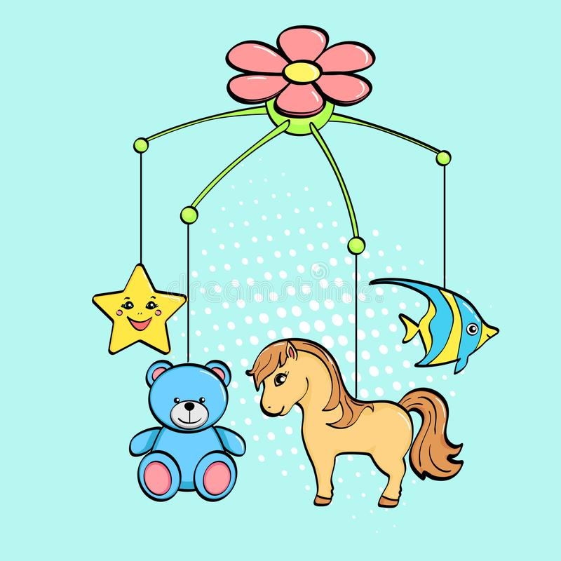Pop art background. A musical toy over a cradle for a child. The subjects are horse, flower, star, bear and fish. vector stock illustration