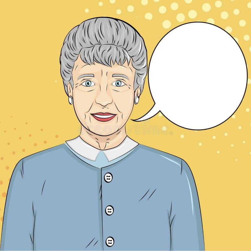 Pop art background. Old man, grandmother. Raster text bubble royalty free illustration