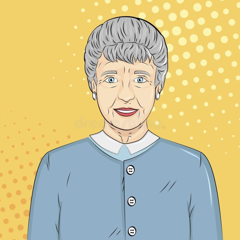 Pop art background. Old man, grandmother. Vector royalty free illustration