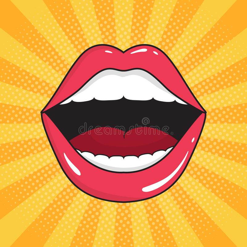 Comic Female Lips Set Colorful Vector Illustration In Pop Art Retro Comic Style Stock Vector Illustration Of Collection Beautiful 110023313