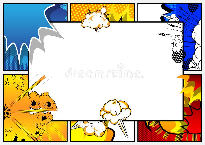 Pop Art background with place for text. Comic book frame. Cartoon retro vector illustration drawing for advertising stock illustration