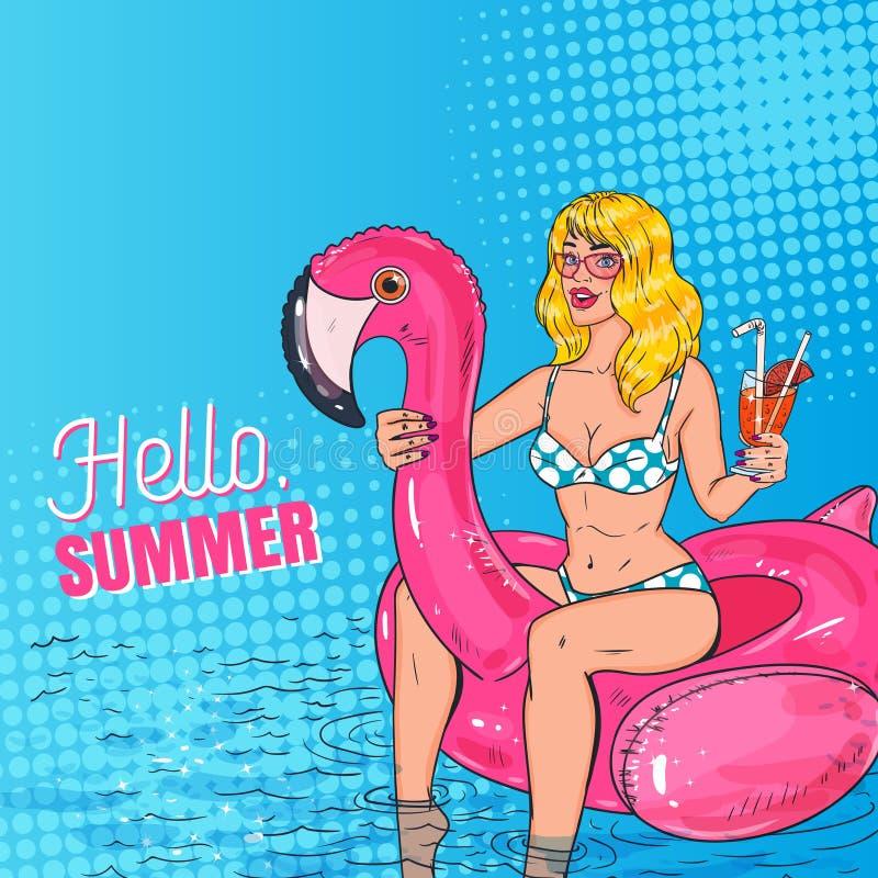 Pop Art Beautiful Blonde Woman Swimming in de Pool bij de Roze Flamingomatras Betoverend Meisje in Bikini op Vakantie stock illustratie