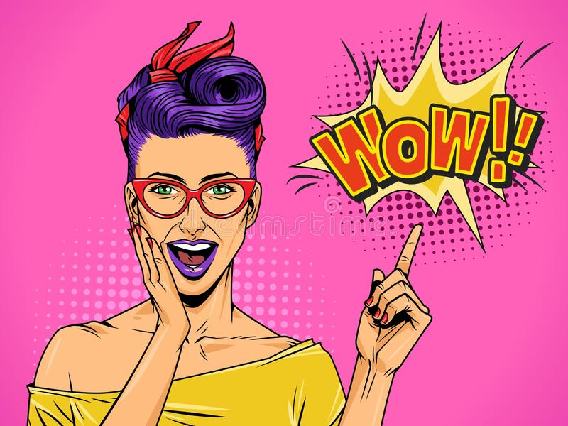 Pop art beautiful surprised lady stock illustration