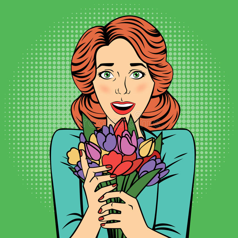 Pop art Beautiful Woman with Bunch of Flowers. Vector illustration in retro style stock illustration