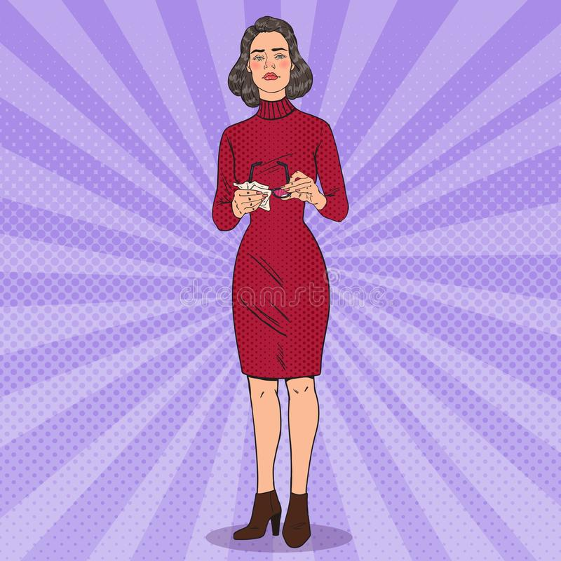 Pop Art Beautiful Woman Cleaning zijn Oogglazen met Vod stock illustratie