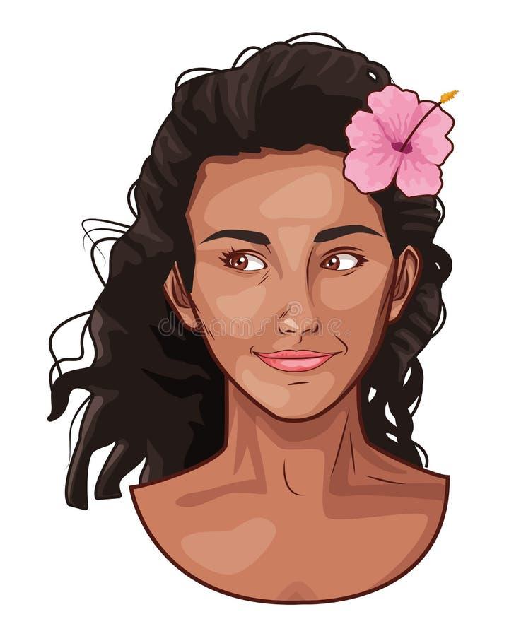 Pop art beautiful woman face smiling cartoon. Pop art beautiful woman face with flower in hair smiling cartoon ,vector illustration graphic design royalty free illustration