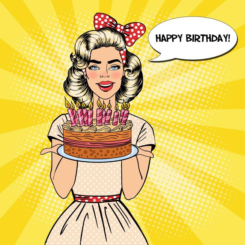 Pop Art Beautiful Woman Holding en platta med kakan för lycklig födelsedag med stearinljus vektor illustrationer