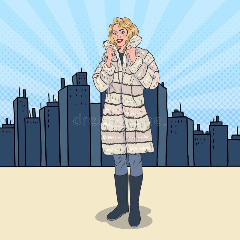 Pop Art Beautiful Woman Posing in Warm Fur Coat in the City. Girl in Winter Clothes stock illustration