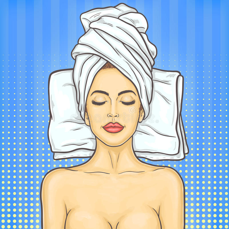 Pop art beautiful woman in spa environment vector illustration