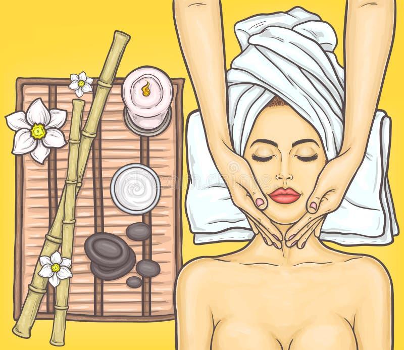 Pop art beautiful woman in the spa salon stock illustration
