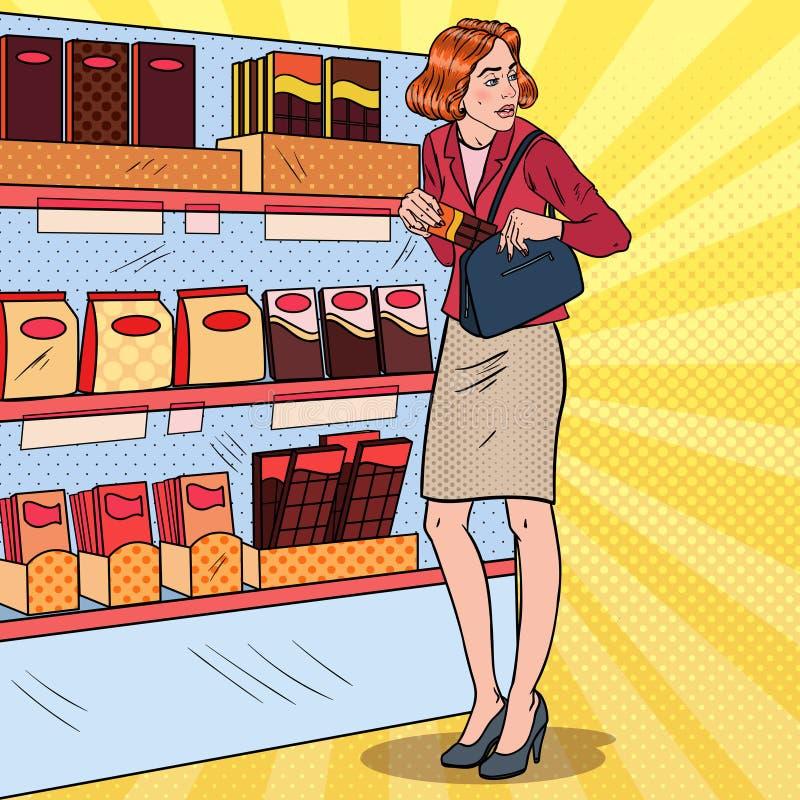 Pop Art Beautiful Woman Stealing Food in Supermarkt Het winkeldiefstal plegen Kleptomanieconcept vector illustratie