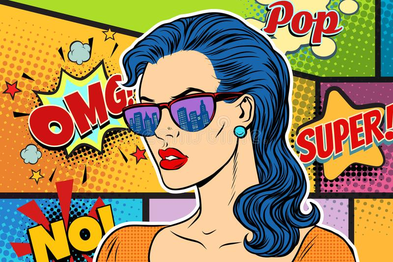 Pop art beautiful woman in sunglasses. Retro vector illustration stock illustration