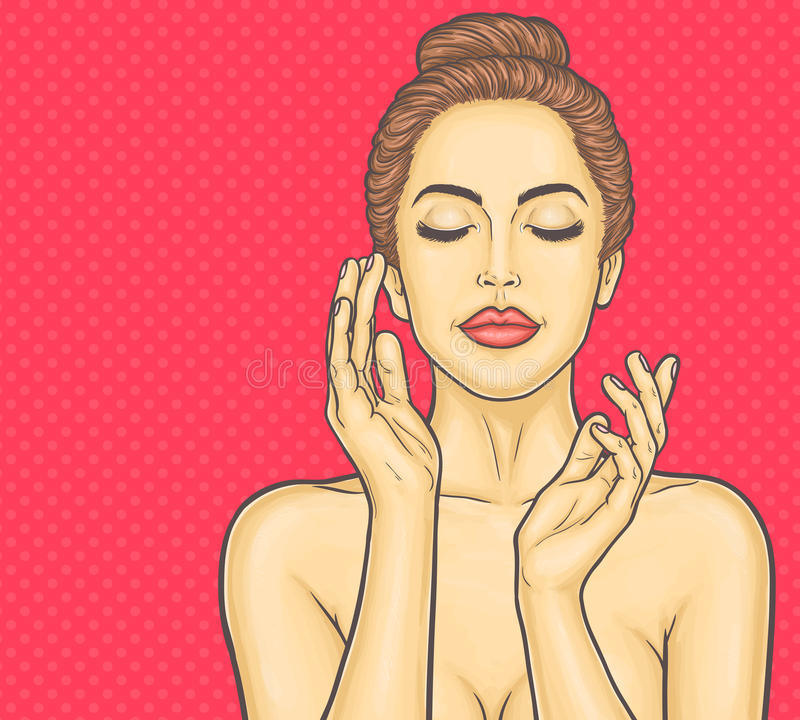 Pop art beautiful young woman makes a face massage royalty free illustration