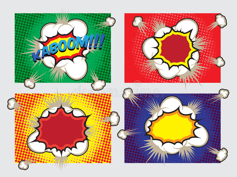 Pop Art Big Explosion Effects Design-Elementen vector illustratie