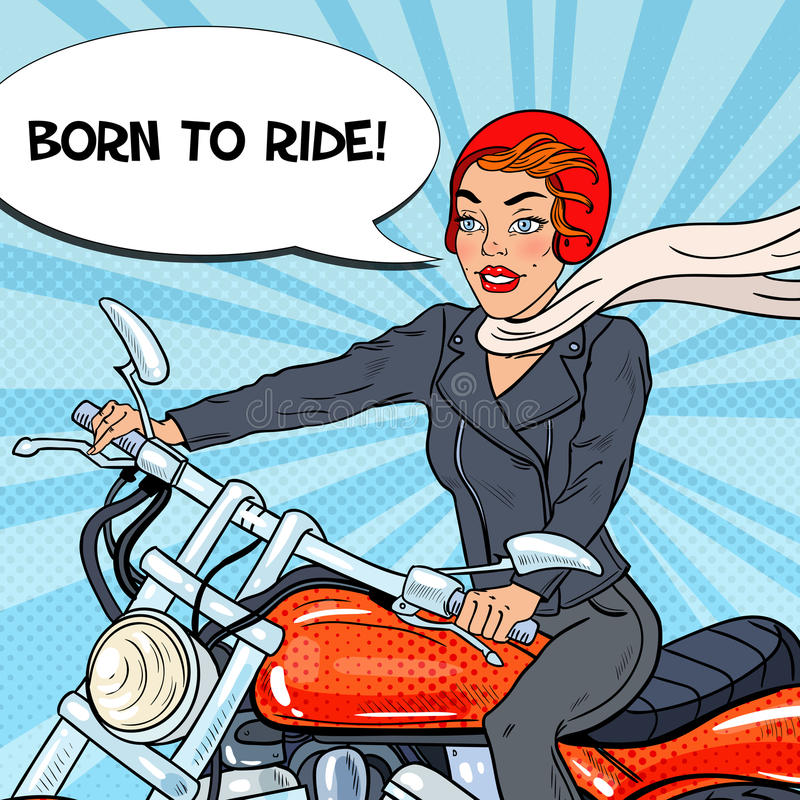 Pop Art Biker Woman in Helmet Riding a Motorcycle royalty free illustration