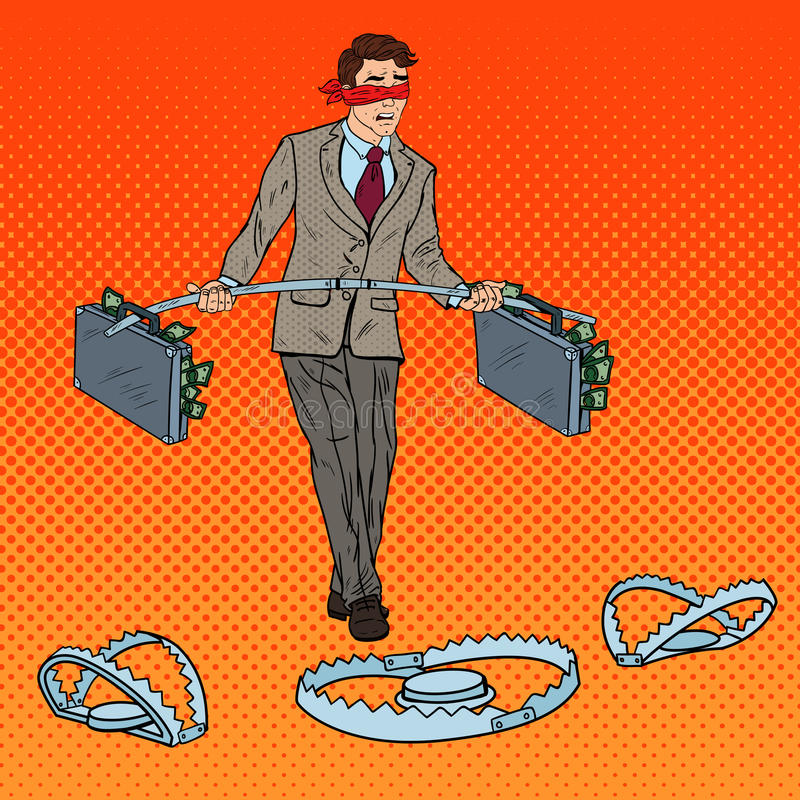Pop Art Blindfolded Businessman Walking with Money Over the Traps. Investment Risk. Vector illustration