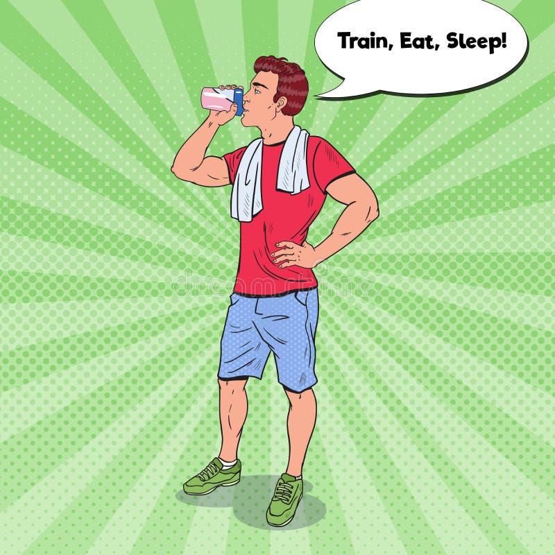 Pop Art Bodybuilder Drinking Protein Shake Voedingssupplementen vector illustratie