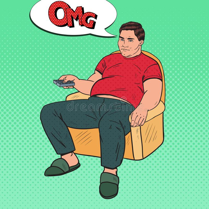 Pop Art Bored Fat Man Watching TV with Remote Controller. Unhealthy Food royalty free illustration