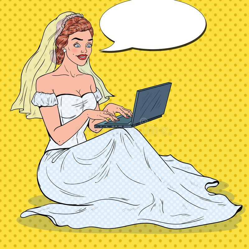 Pop Art Bride with Laptop. Young Happy Woman in Wedding Dress Shopping Online vector illustration