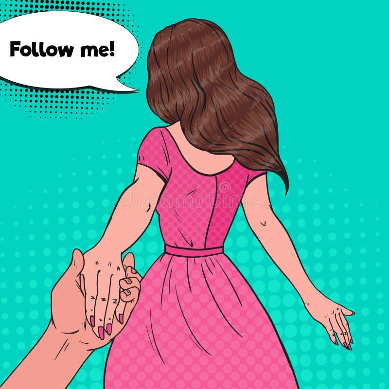 Pop Art Brunette Woman Holding Hands Följ mig resabegreppet royaltyfri illustrationer