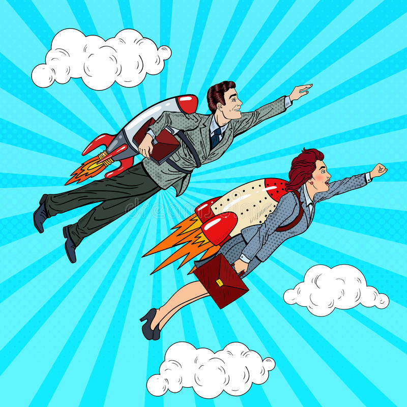 Pop Art Business People Flying on Rockets to Success. Creative Start Up Concept stock illustration