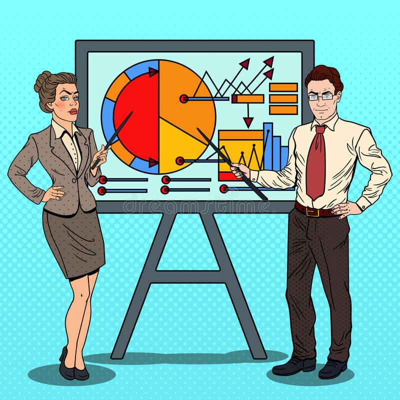 Pop Art Business People with Pointer Stick. Pop Art Business Woman and Businessman with Pointer Stick Presenting Business Chart. Vector illustration royalty free illustration