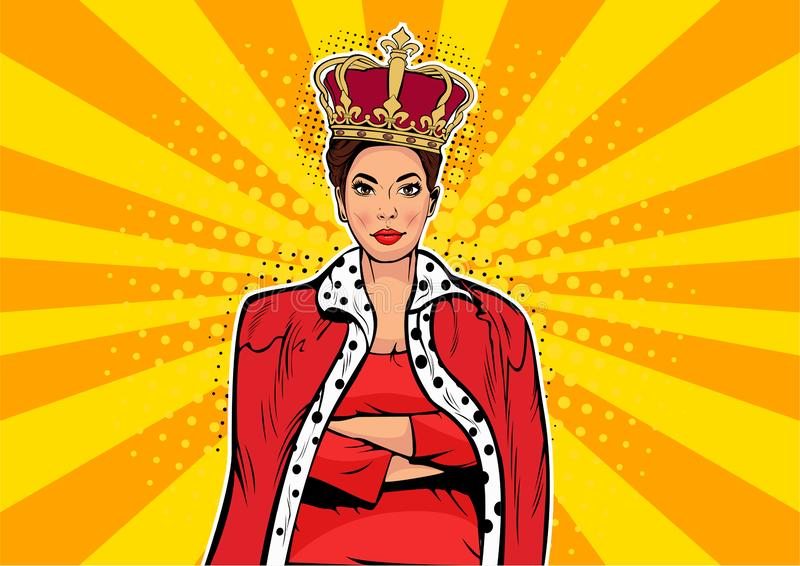 Pop art business queen. Businesswoman with crown. Woman leader. Business queen. Businesswoman with crown. Woman leader, success boss, human ego. Vector retro pop stock illustration