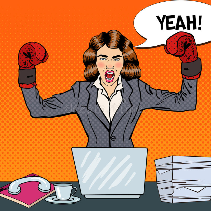 Pop Art Business Woman in Boxing Gloves at Multi Tasking Office Work. Vector illustration stock illustration