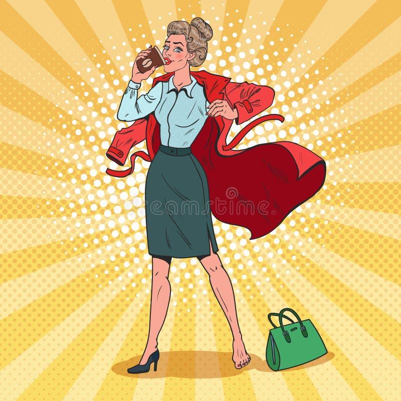 Pop Art Business Woman Hurries som arbetar Upptagen flicka med morgonkaffe stock illustrationer