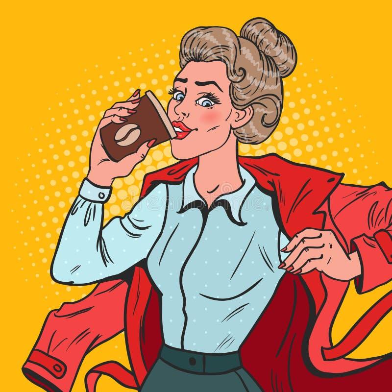 Pop Art Business Woman Late på arbete Upptagen flicka med morgonkaffe royaltyfri illustrationer