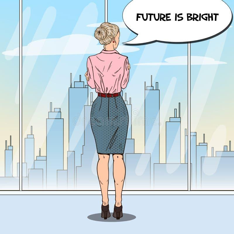 Pop Art Business Woman Looking bij Stad door het Venster in Bureau