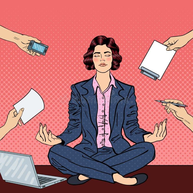 Pop Art Business Woman Meditating op de Lijst stock illustratie