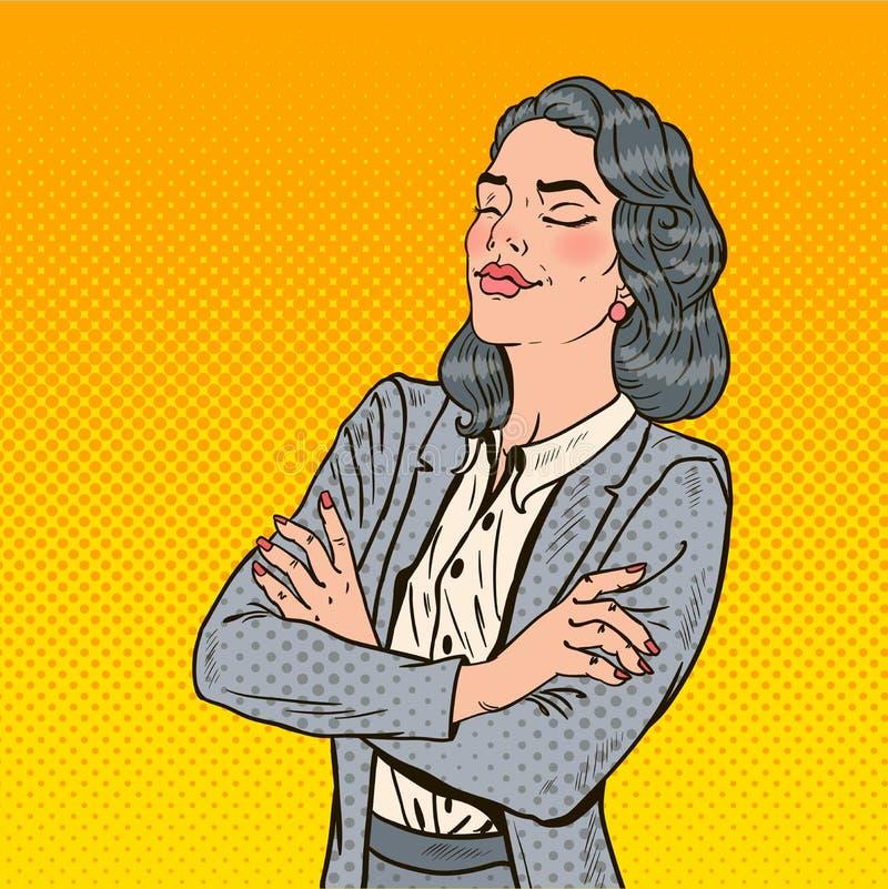 Pop Art Business Woman met Haar Gesloten Ogen stock illustratie