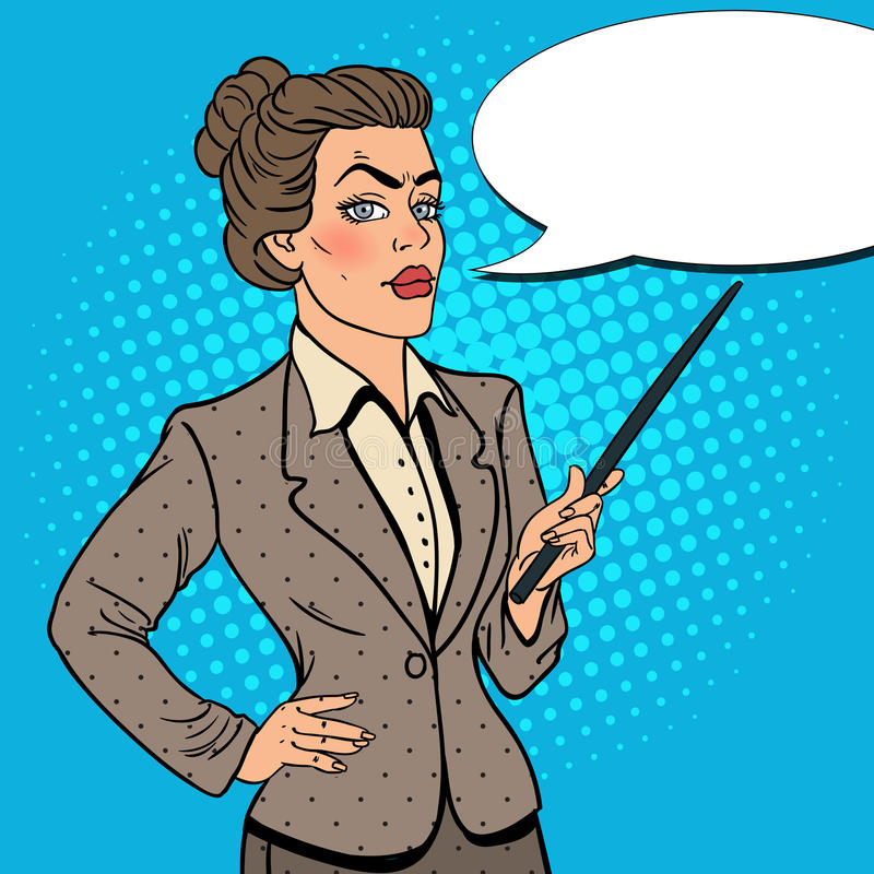 Download Pop Art Business Woman With Pointer Stick Stock Vector - Image: 83719340