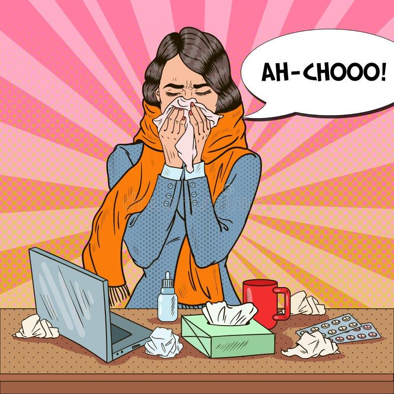Pop Art Business Woman Sneezing Meisje met Griep op het Werk royalty-vrije illustratie