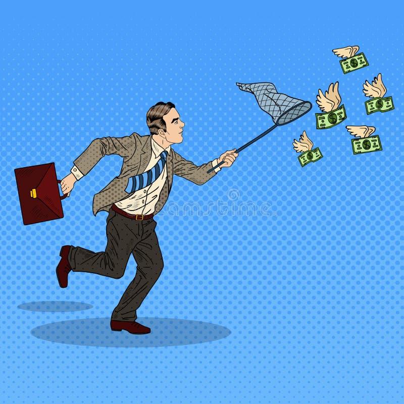 Pop Art Businessman Catching Flying Money vector illustration