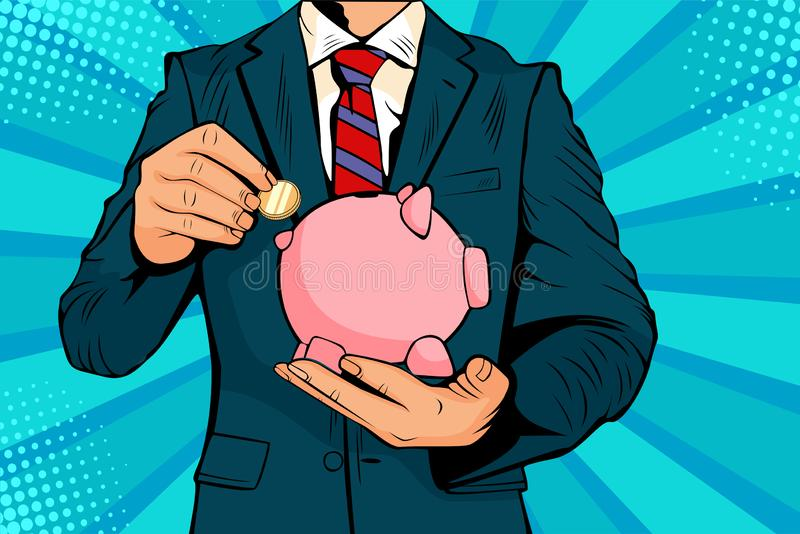 Pop art Businessman, colocando moeda num banco porquinho economizando dinheiro ilustração do vetor